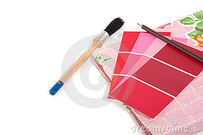 Red and pink color samples