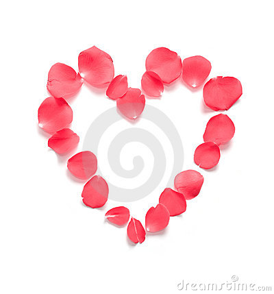 Red Pink Heart Rose Petals