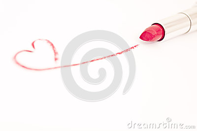 Red pink lipstick with heart mark