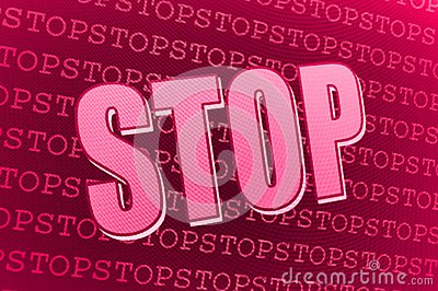 Red pink Stop sign