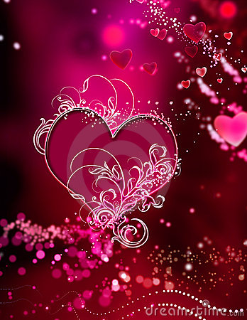 Red Pink Stunning Hearts  Sparkles Swirl Abstract