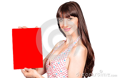 Red placard woman