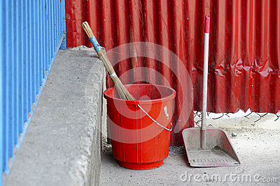 Red plastic bucket