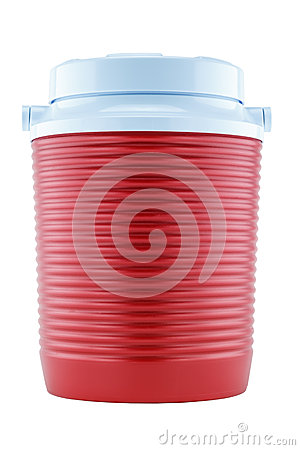 Red plastic canteen