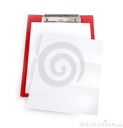 Red plastic clipboard with blank paper sheet on white. Stock Photo