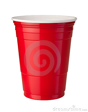 Red Plastic Cup with clipping path