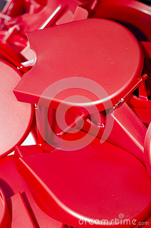 Red plastic objects