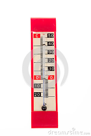 Red plastic retro thermometer