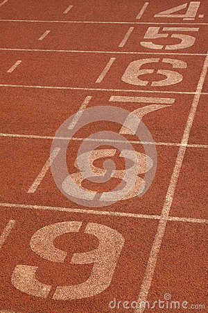 Free Red Plastic Runway And Numbers In A Sports Ground, In Beijing, C Stock Images - 28425934