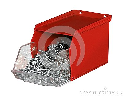 Red plastic screw box