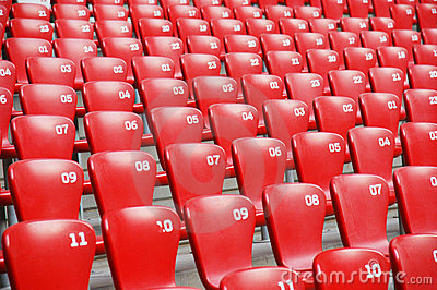 Red plastic seats in   stadium