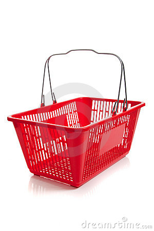 Red plastic shopping basket on a white background