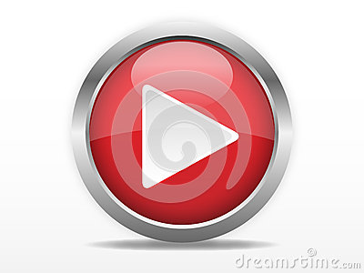 Red play button Vector Illustration