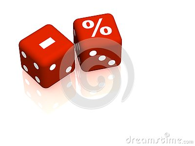 Red playing bones with symbols minus and percent