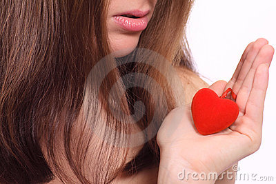 Red plush heart and lips