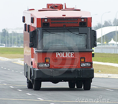 Red police truck