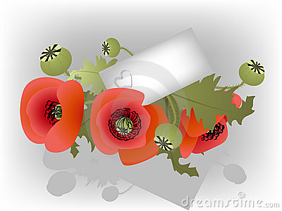 Red poppies with card for message