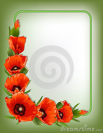 Free Red Poppies Floral Frame, Vector Stock Photo - 41829760