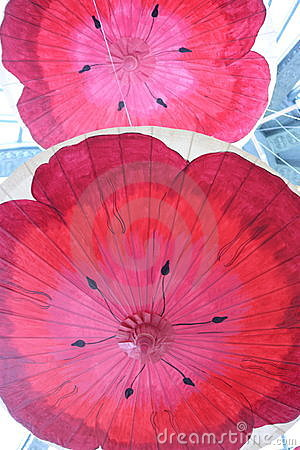 Red Poppies on Paper Umbrellas