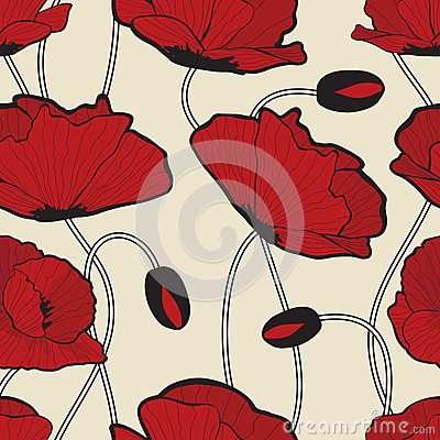 Red poppy flowers  pattern