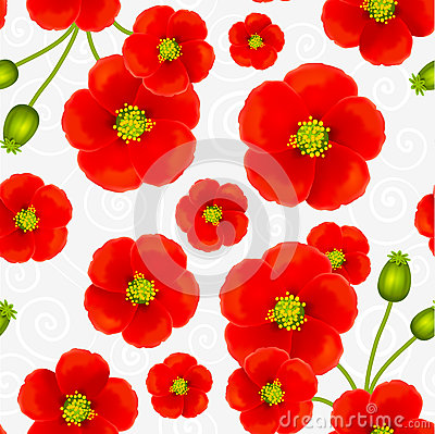Red poppy flowers vector seamless pattern