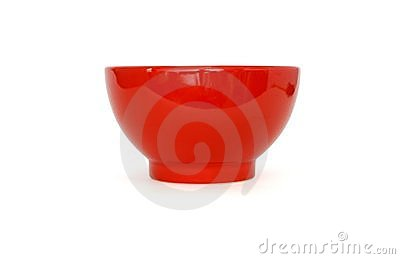 Red porcelain bowl side view isolated