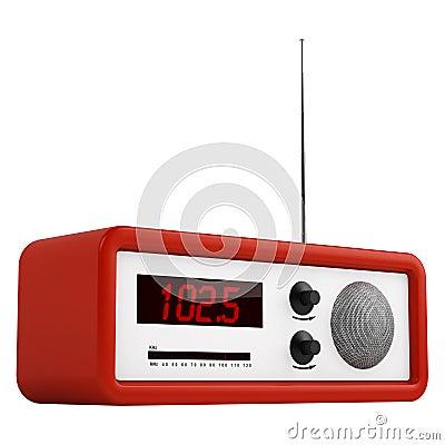 Red portable transistor radio