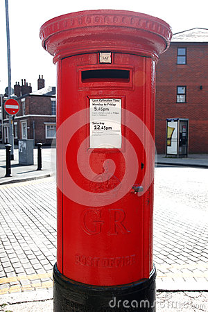 Red Post Box on a London St Editorial Photo