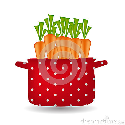 Red pot with carrots. Organic, diet, healthy food