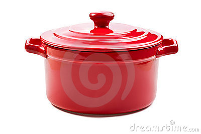 Red pot with cover