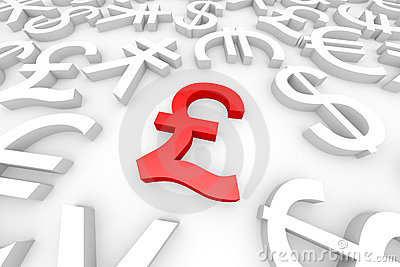 Red pound sign around another currency signs.