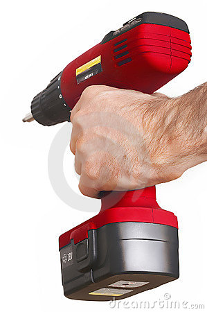 Red power drill rote Bohrmaschine