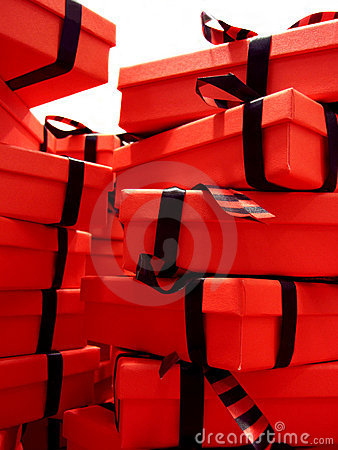 Red Gift Boxes with Black Bows