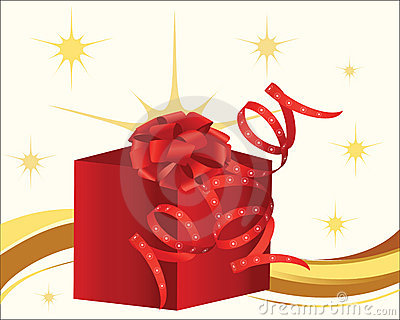 Red present with bow  and curly ribbon