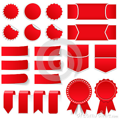 Free Red Price Tags And Stickers Stock Photos - 53154203