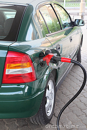 Free Red Pump For Refueling Filling Car On Station Stock Photography - 17888152