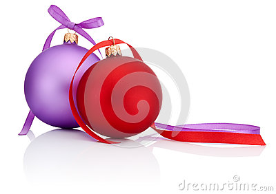 Red and Purple Christmas Ball with ribbon bow Isolated on white