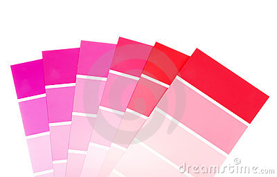 Red and purple color paint chips
