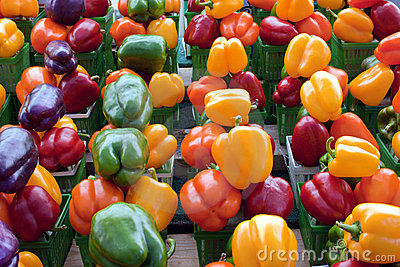 Red, purple, yellow, green and orange bell peppers