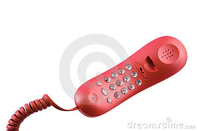 Red  pushbutton telephone