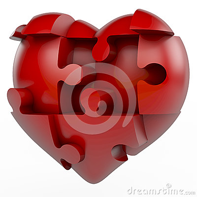 Free Red Puzzle Heart Royalty Free Stock Photography - 36802437