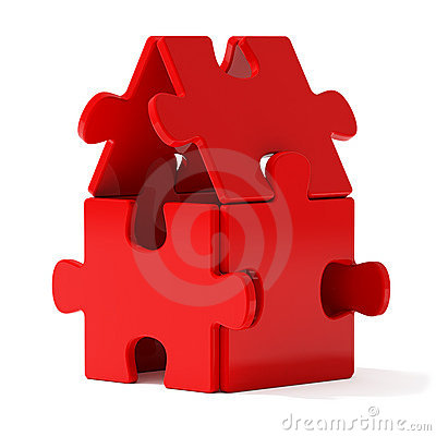 Free Red Puzzle Home Royalty Free Stock Images - 3040969
