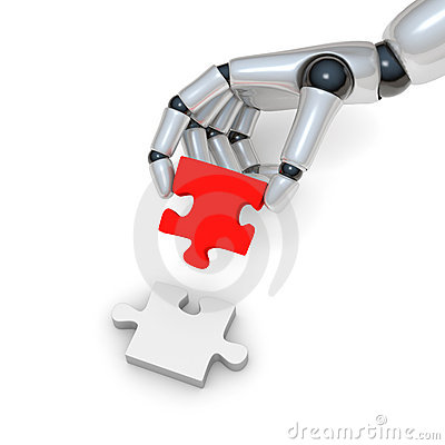 Red puzzle in robohand
