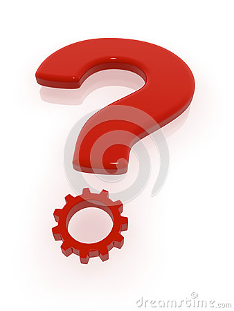 Red Question Mark with Gear
