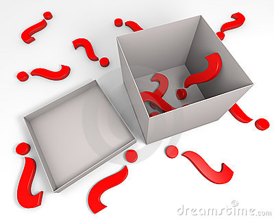 Red question marks and a box