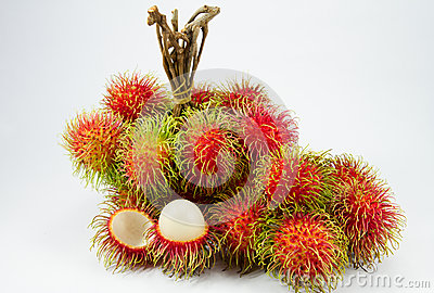 Red rambutan on white backgruond.