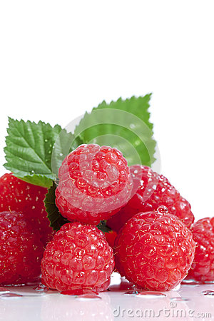 Red Raspberries White Background 2