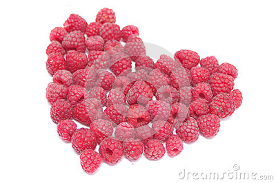 Red raspberry in the form of heart
