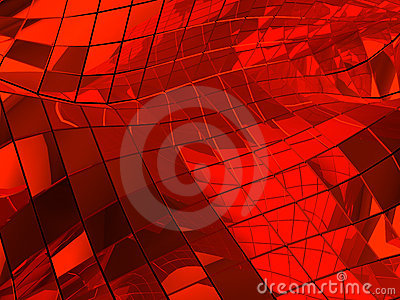 Red reflective abstract tiled background