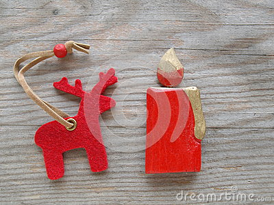 Red reindeer and candle